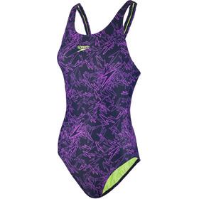 speedo Boom Allover Muscleback Swimsuit Women, navy/pink
